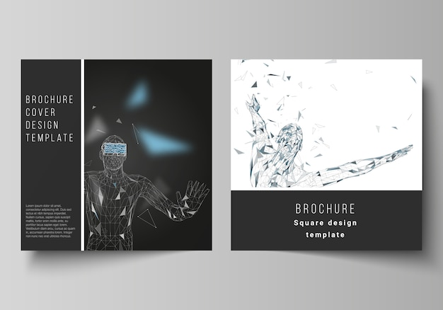 Minimal vector illustration of editable layout of two square format covers Premium Vector