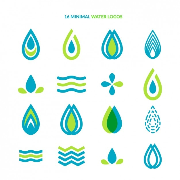 Minimal water logo collection Free Vector