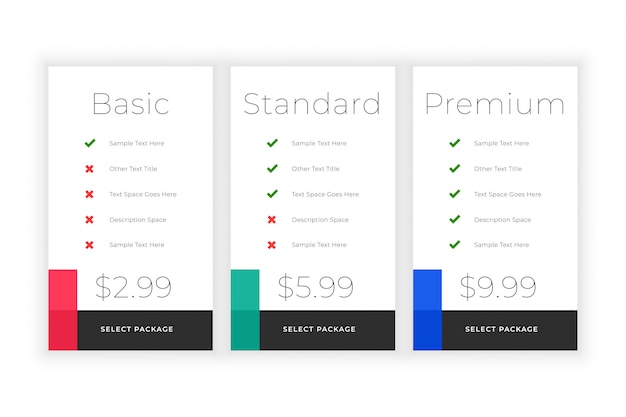 Minimal web plans and pricing comparision template Free Vector