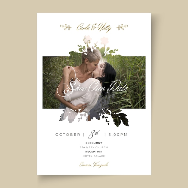 Минимальная концепция свадебной открытки Бесплатные векторы
