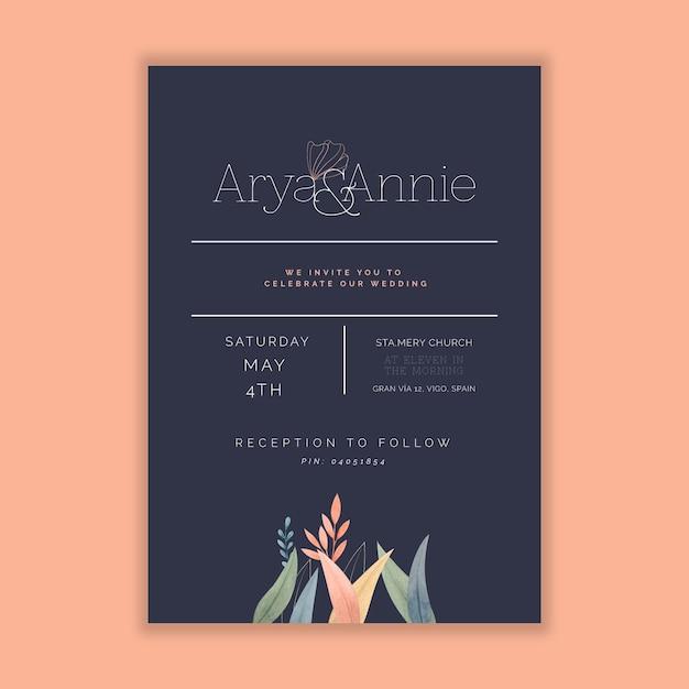 Design minimale della carta di nozze Vettore gratuito