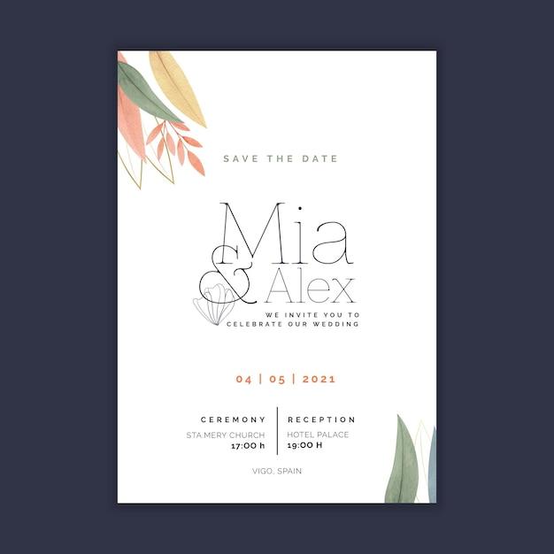 Minimal wedding card template Free Vector