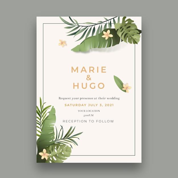 Минимальный шаблон свадебной открытки Бесплатные векторы