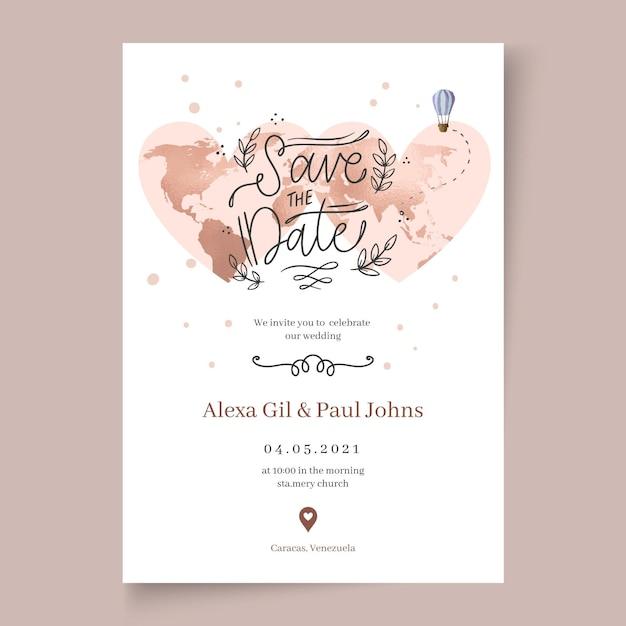 Modello di carta di nozze minimo Vettore gratuito