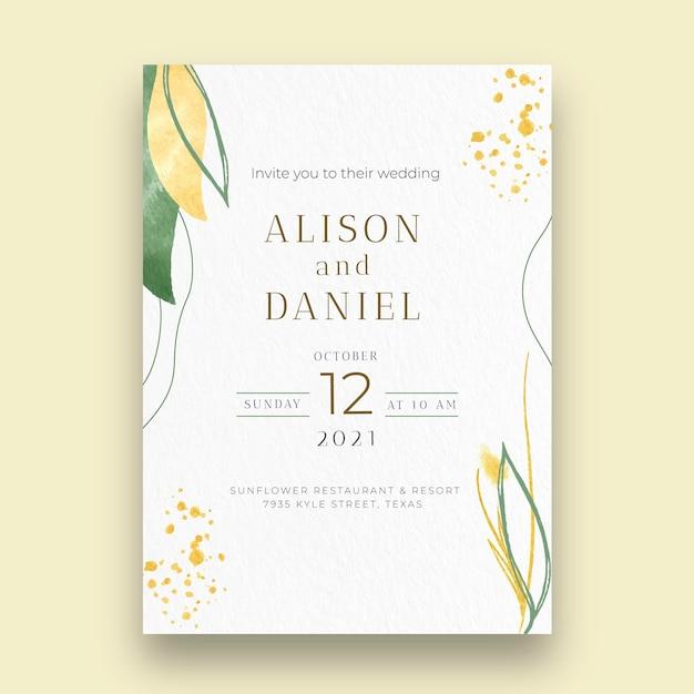 Minimal wedding card Premium Vector