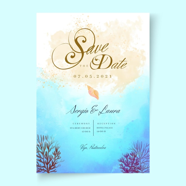 Minimal wedding card Free Vector
