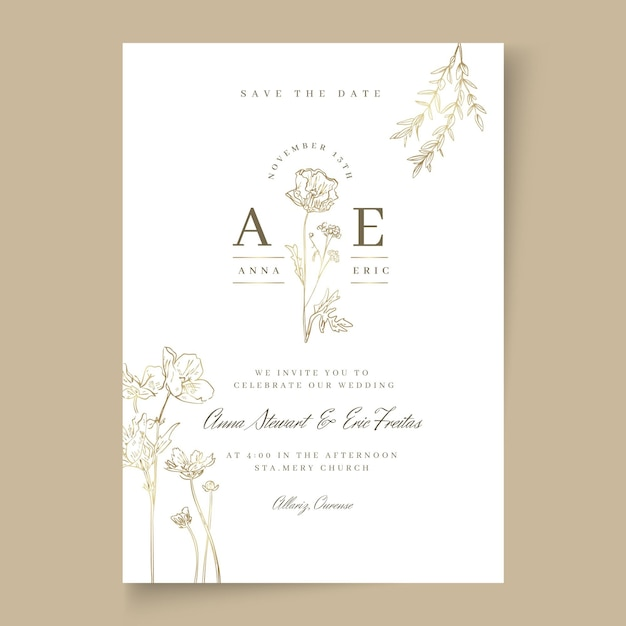 Минимальная свадебная открытка Бесплатные векторы