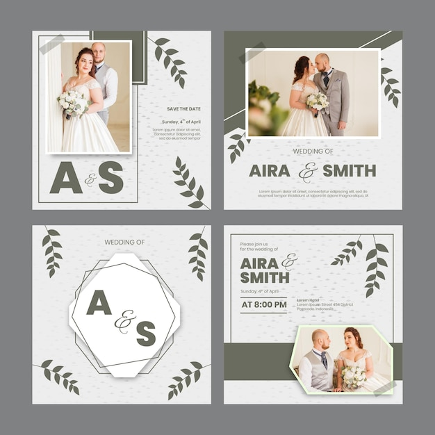 Minimal wedding instagram posts Free Vector