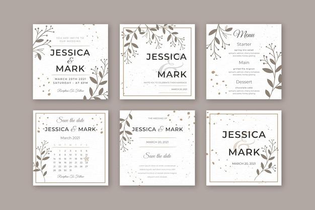 最小限の結婚式のinstagramの物語 Premiumベクター