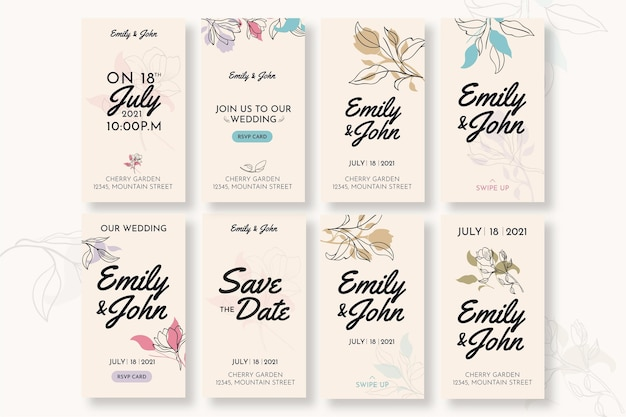 Storie di instagram di nozze minime Vettore gratuito