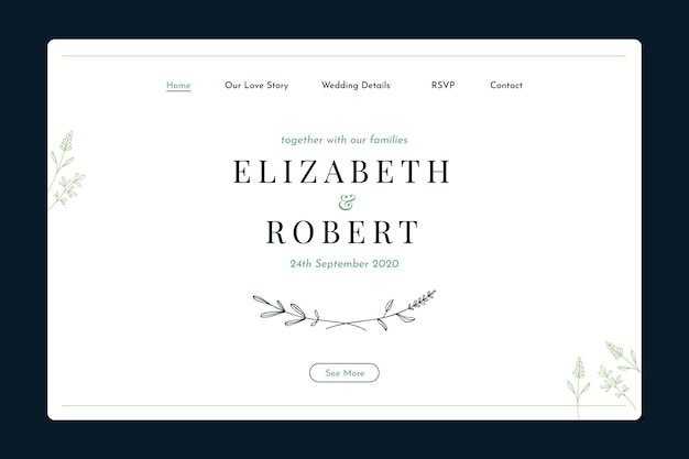 Минимальный свадебный шаблон целевой страницы Бесплатные векторы