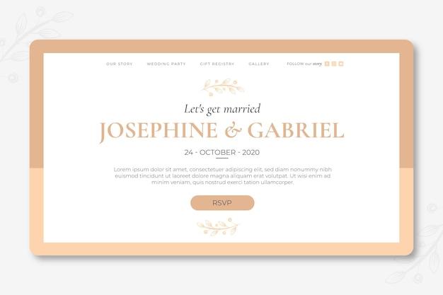 Минимальная свадебная целевая страница Бесплатные векторы