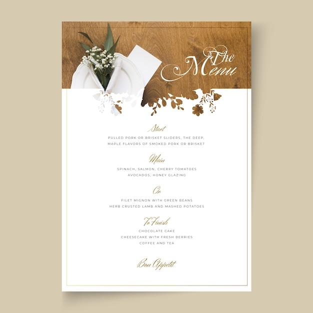 最小限の結婚式のメニューの概念 無料ベクター