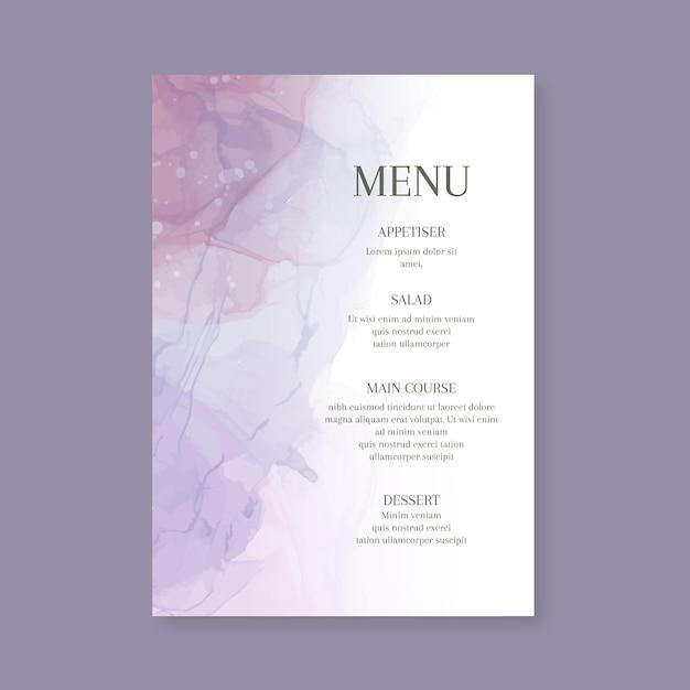 Minimal wedding menu template Free Vector