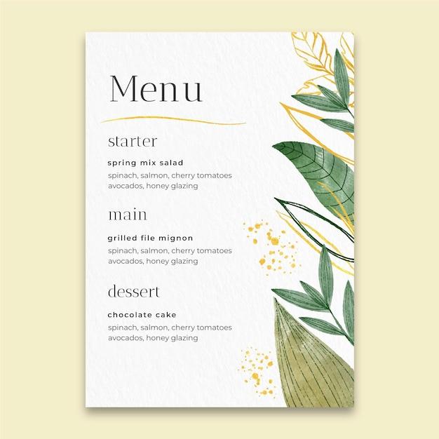 Минимальное свадебное меню Premium векторы