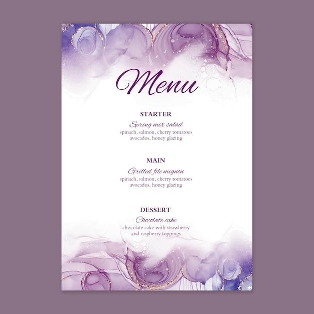 Минимальное свадебное меню Бесплатные векторы