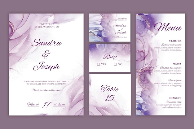 Minimal wedding stationery collection Free Vector