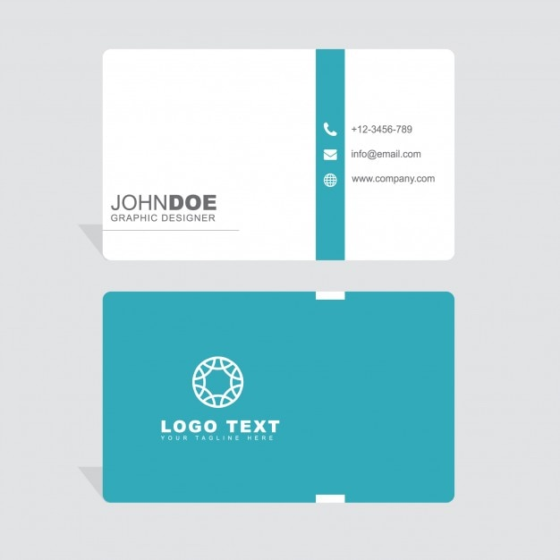 Minimal white and blue business card Free Vector