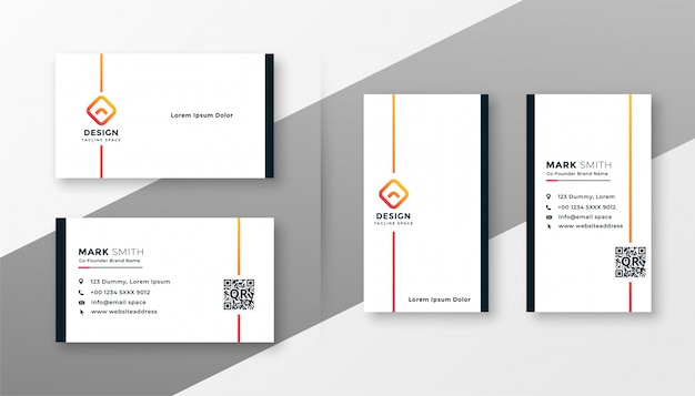 Minimal white business card template set Free Vector