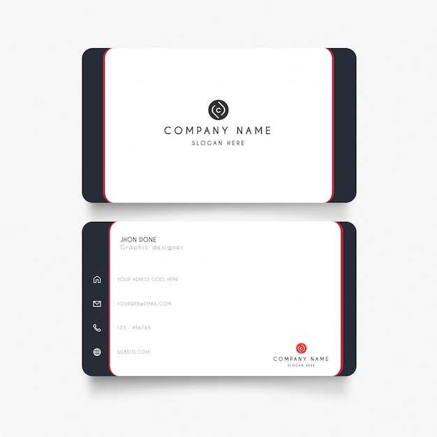 Minimal white business card Free Vector