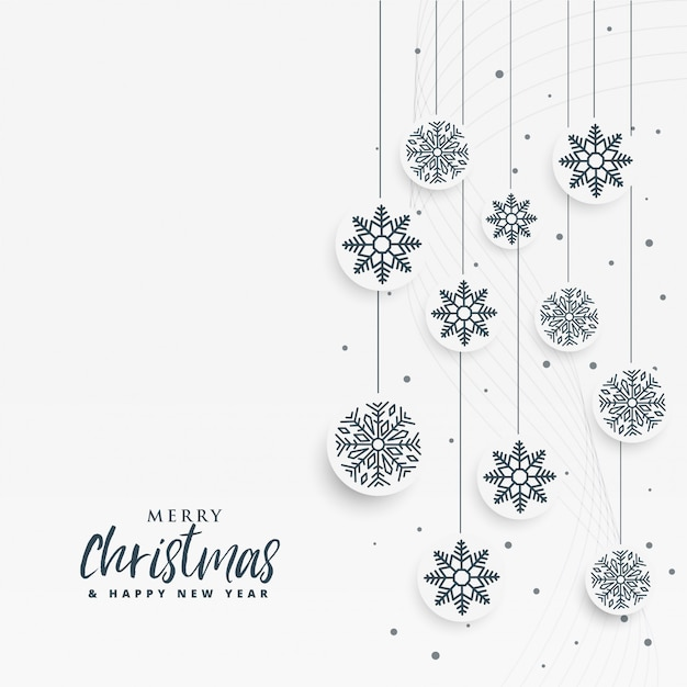 Minimal white christmas background with snowflakes Free Vector