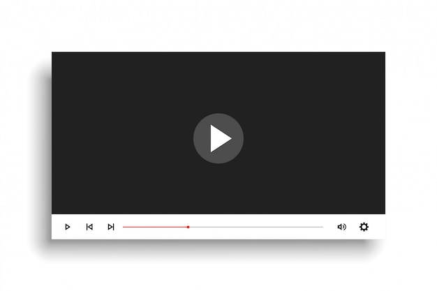 최소한의 흰색 스타일 비디오 플레이어 템플릿 디자인 무료 벡터