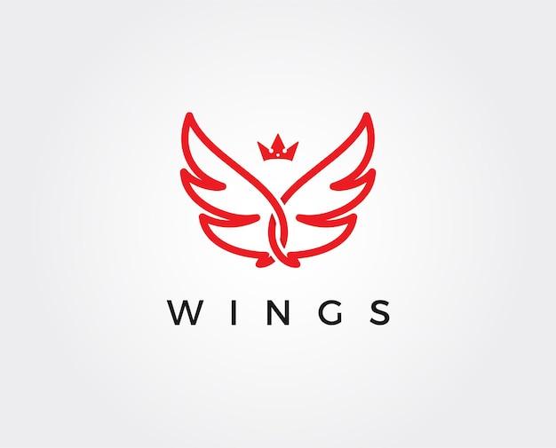 Minimal wings logo template