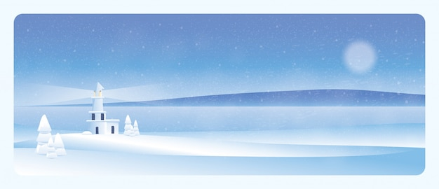 Minimal winter landscape lighthouse in the winter with snow fir Premium Vector