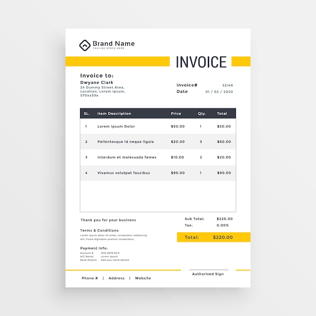 Minimal Yellow Invoice Template Vector Design Vector Free Download - Invoice template design