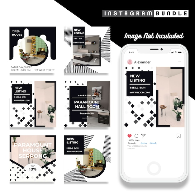 Minimalis instagram fashion post template Premium Vector