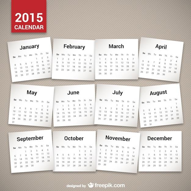 Minimalist 2015 calendar Free Vector