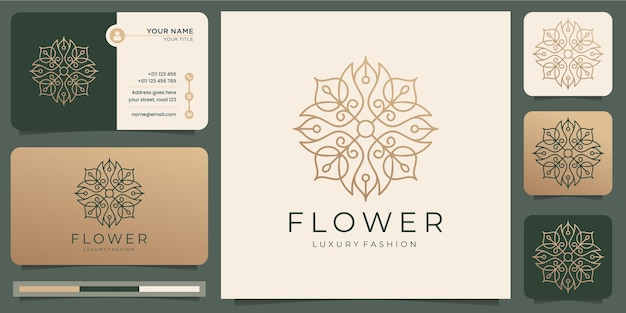 Minimalist abstract flower rose luxury beauty salon, fashion, skincare, cosmetic, yoga and spa products with business card . Premium Vector