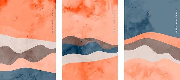 波状の形で設定されたミニマリストの抽象的なチラシ 無料ベクター