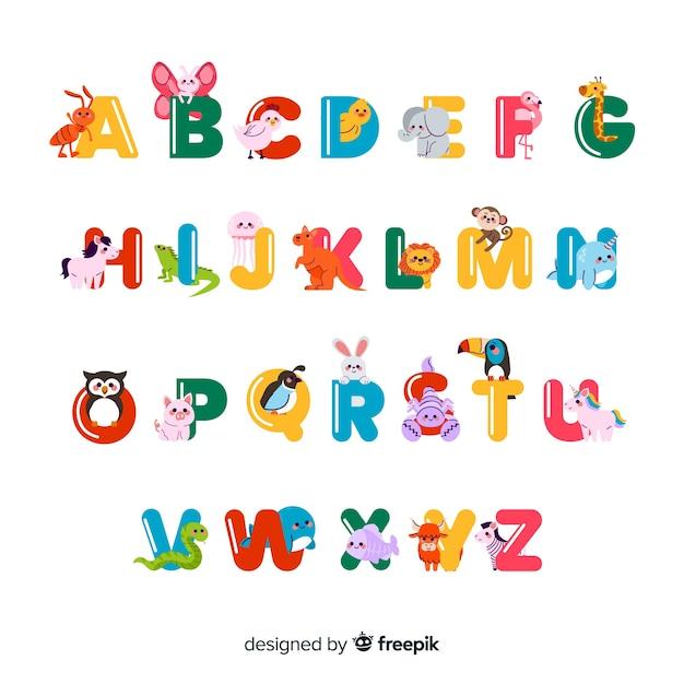 Minimalist animals forming the alphabet Free Vector
