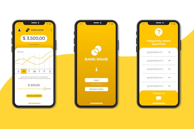 Minimalist banking app interface template Free Vector