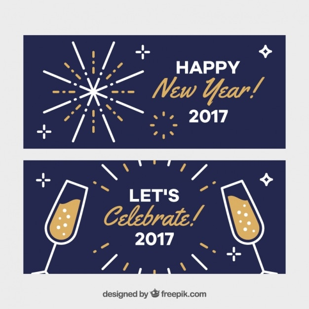 Minimalist banners for new year Free Vector