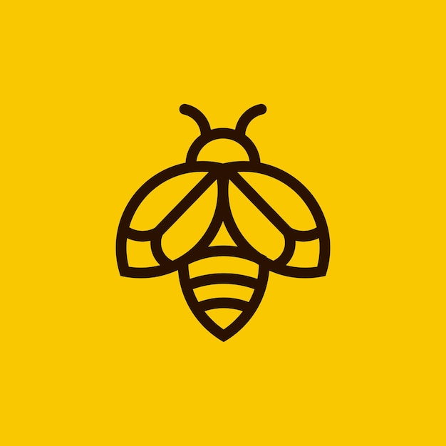 Minimalist bee outline logo Premium Vector