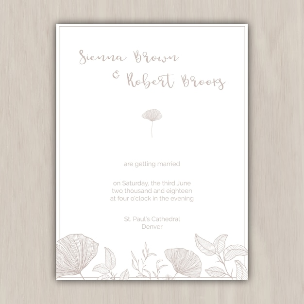 Minimalist beige wedding invitation with hand drawn elements vector minimalist beige wedding invitation with hand drawn elements free vector stopboris Images