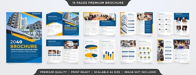 Minimalist bifold brochure template premium style Premium Vector