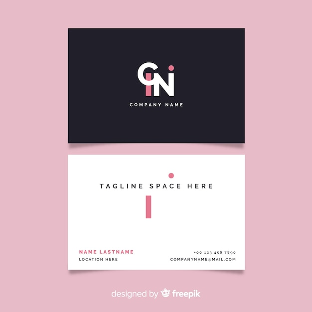 Minimalist black and white business card Free Vector