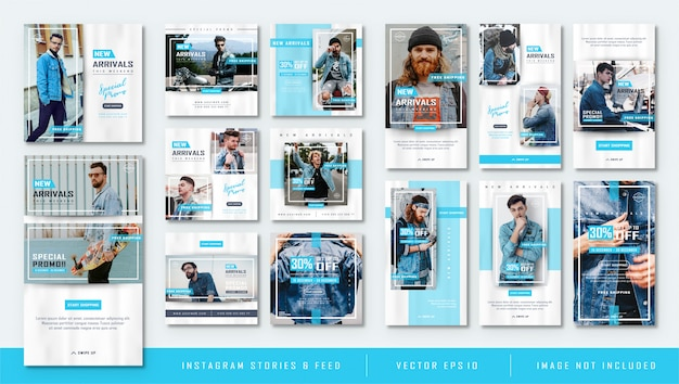 Minimalist blue instagram stories and feed post fashion sale template Premium Vector
