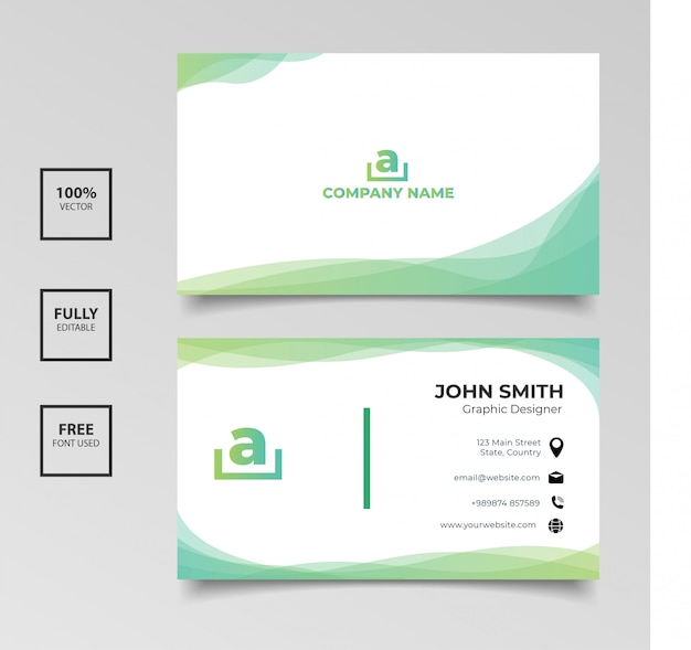 Minimalist business card. gradient green and white color horizontal simple clean template vector design Premium Vector