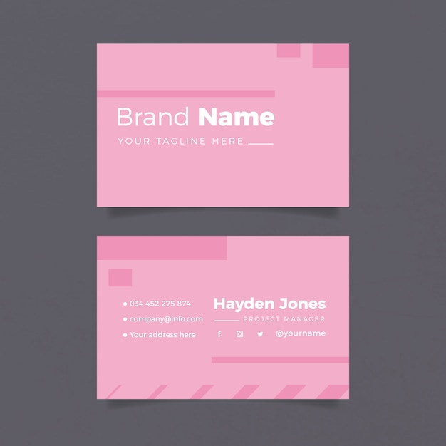 Минималистичный шаблон визитки в розовых тонах Бесплатные векторы