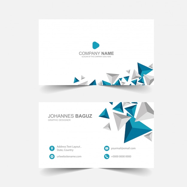 Minimalist business card with abstract Premium Vector