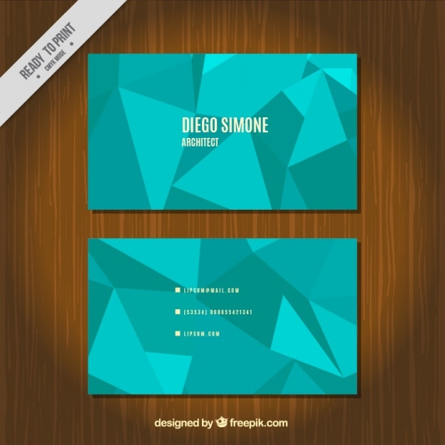 Minimalist Business Card With Blue Polygons Free Vector