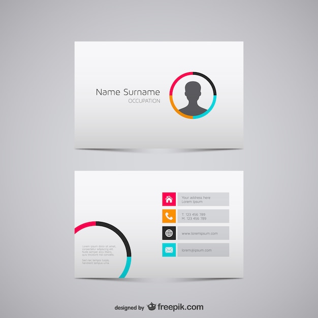 minimalist business card with man silhouette vector free download