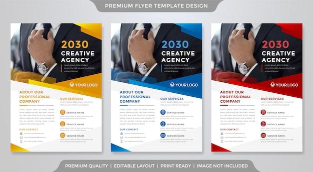 Минималистский бизнес флаер шаблон премиум-стиля Premium векторы