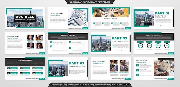 Минималистичный шаблон макета бизнес-презентации премиум стиль Premium векторы