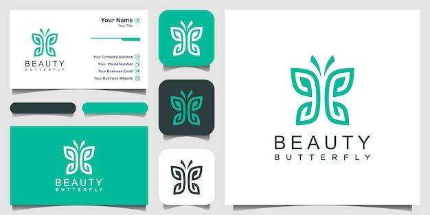 Minimalist butterfly line art monogram shape logo. beauty, luxury spa style. logo design, icon and b