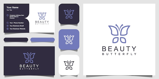 Minimalist butterfly line art monogram shape logo and business card design Premium Vector